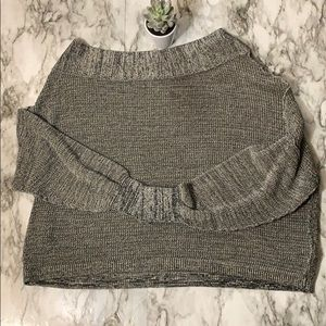 Free People Gray Boat Neck Sweater Oversized Small
